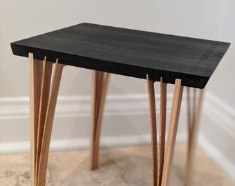 Side or End Table - locally source Ash wood - Black India ink and Japanese Inspired design- finished with low VOC Odies Oil