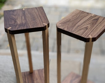 A pair of audio speaker stands 2.0 - Walnut top with ash or maple legs