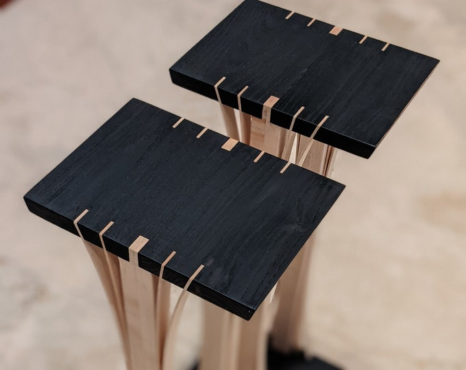 Wooden Audiophile Speaker Stand - Hard Maple legs and Ash top - Japanese Inspired Design - Custom sizes available