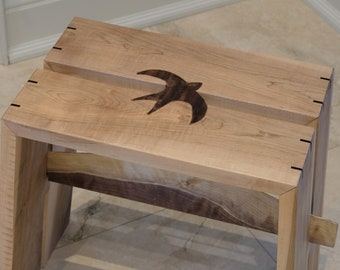 Bench or stool with Barn Swallow bird or cross inlay made of black walnut and splines on edges - Japanese inspired design