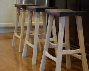 Bar Stools - Walnut Seat with Canadian Hard Maple or Walnut Legs Great for Kitchen Islands Basement Bars