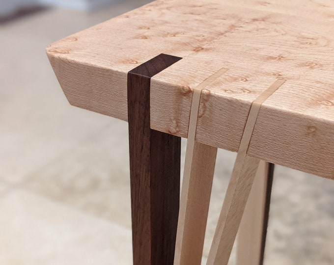 Side / End Table for Living or Grand room - Birdseye Maple with Walnut and Maple Feet - Japanese Inspired design - Ready to ship