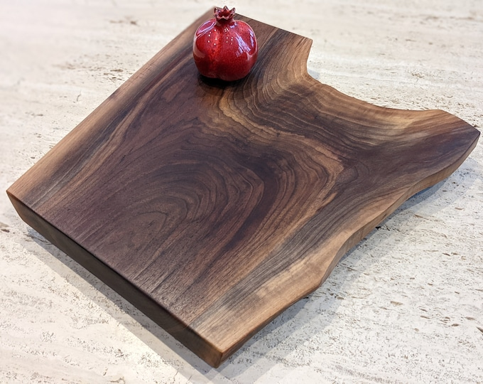 Mothers Day Gift - Approximately 1.5 ft x 1.5 ft, walnut live edge floating large charcuterie board with feet