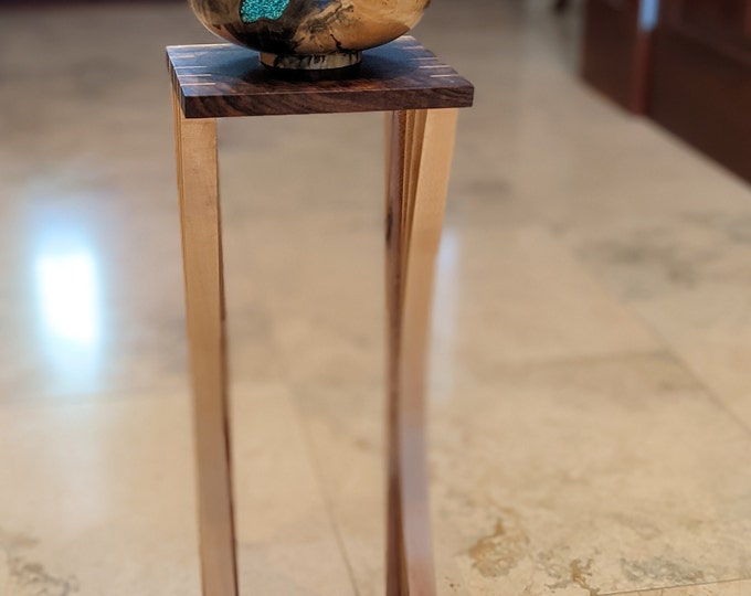 Display Stand or Wooden Audiophile Speaker Stand - Hard Maple and walnut - Japanese Inspired Design - Custom sizes available
