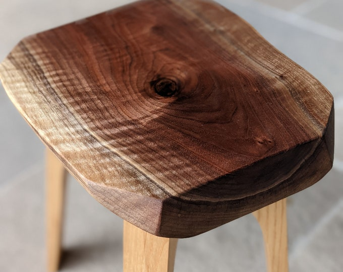 Side or End Table - Dark Walnut slab with Ash Feet - Japanese Inspired One of a kind design