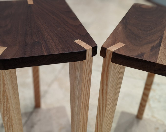 A Pair of Audio Speaker Stands or Side Tables - Walnut top with ash or maple legs