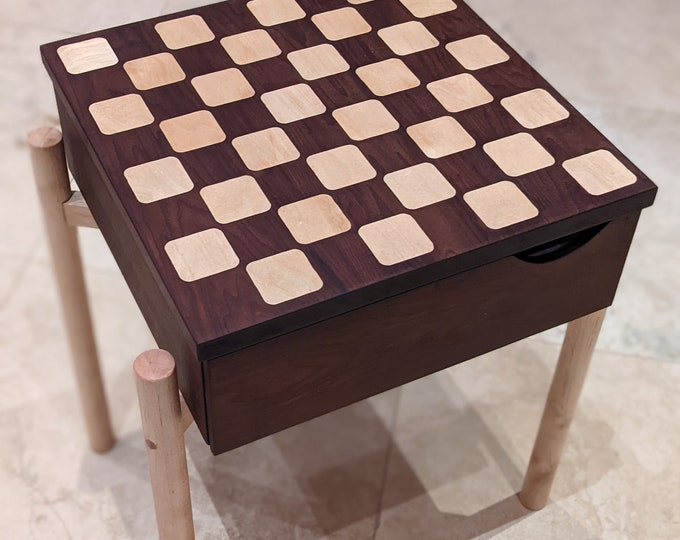 Mid Century Modern Table with detachable Chess top - maple inserts with roasted maple top - Natural Finish