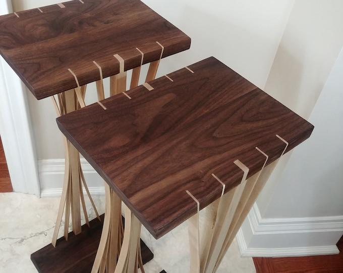Custom built pair of Wooden Audiophile Speaker Stands - Hard Maple and walnut - Japanese Inspired Design