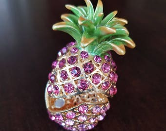 Pineapple Jewelry box with pink crystals