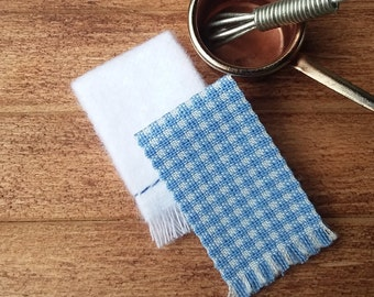 Brown//Tan Gingham Miniature Dollhouse 8 Pc Dish Towel Set