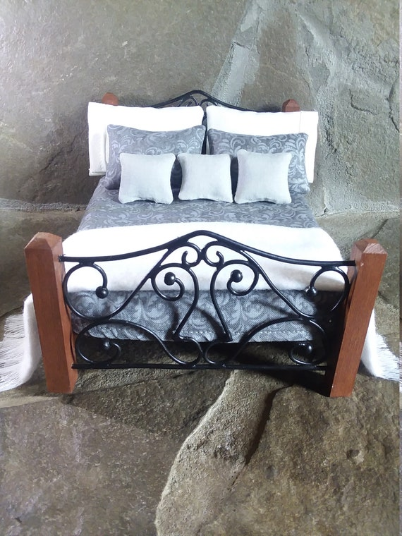 Miniature Double Bed Dollhouse Rustic Wrought Iron 1 12 Etsy