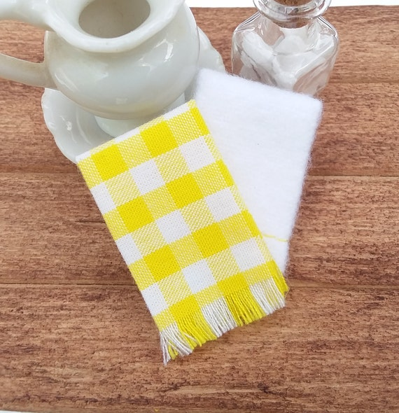 Miniature Dish Towels, Dollhouse Yellow and White Kitchen Hand Towel Set,  Mini Gingham Checkered Country Towel, Doll 2 piece Towels, Mini