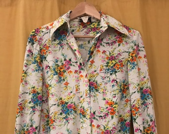 Vintage Anjac Floral Polyester Button Up