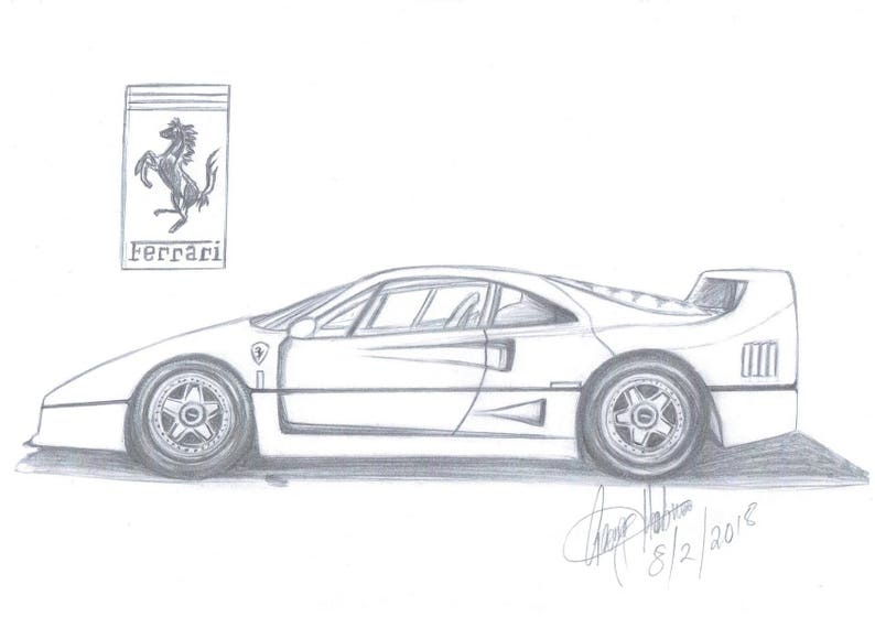 Art Ferrari Cars Man Cave Cuustom Drawings