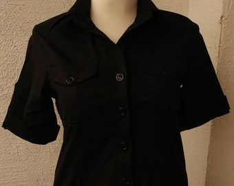 """Black fitted sporty Womens blouse, blouse with short sleeves """"ZENTE"""", SIZE MEDIUM -M, 40, vintage"""