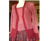 PINK SET Two Piece, Two Piece Cardigan and Blouse, Knit Cardigan Twin Set, Crochet Pattern Cardigan Set, Medium Size
