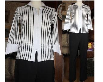 329bc59120bd2 WHITE blouse STRIPED black