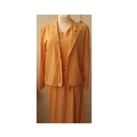 Vintage 70s, Pleated dress and jacket two piece su