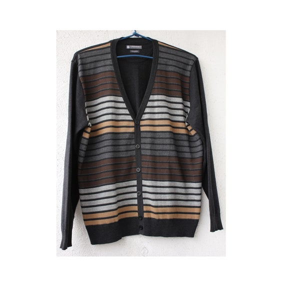 Striped Men's wool CARDIGAN, Graphite Men's Cardig
