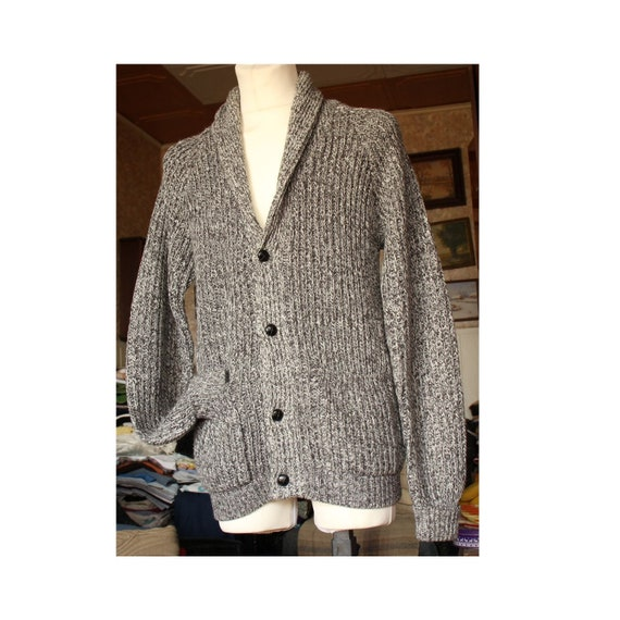 Gray and White Men's Cardigan, Men's sweater with