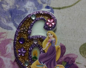 "3"" Rapunzel birthday cake candle"