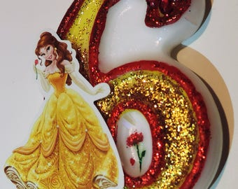 Belle Inspired birthday cake  candle