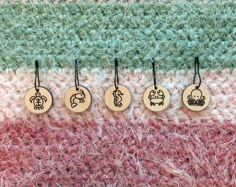 Stitch Markers Wood Knitting Cute Sea Creatures Crochet Placement Charms
