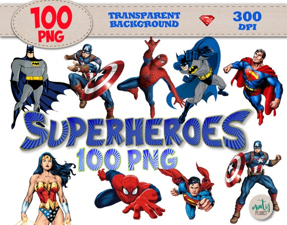 Superheroes Clipart Spiderman PNG Files Superman
