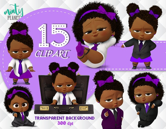 African American Girl Purple Boss Baby Boss Baby Girl Full Quality Clipart Transparent Background 300dpi Instant Download Psn019 C P