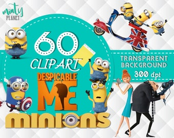 Minions Clipart, Minions PNG files, characters full quality, 60 Minions Clipart transparent background, 300dpi, instant download, PSN002