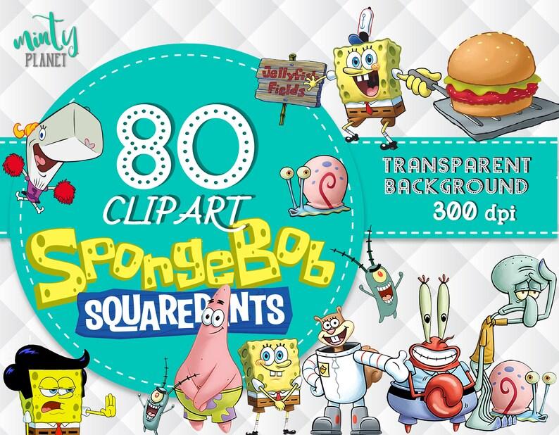 Spongebob Clipart, Spongebob PNG, Spongebob characters, Clip art  transparent background, 300dpi, instant download, PSN022