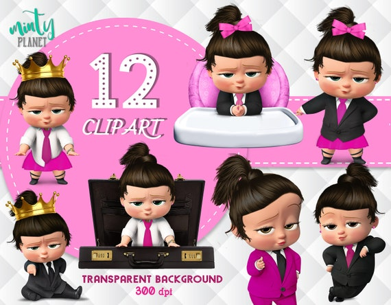 Girl Pink Boss Baby Black Hair Boss Baby Girl Full Quality Birthday Girl Boss Baby Transparent Background Instant Download Psn019 D M