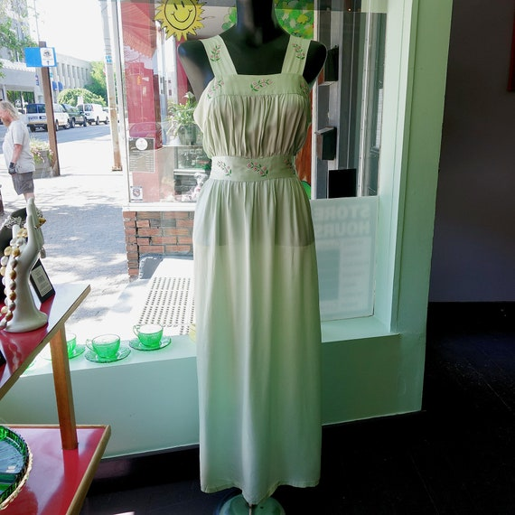 1940s Mint Green Empire Waist Silk Nightgown/Dress