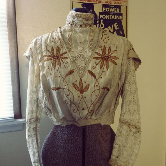 Victorian/Edwardian Embroidered Blouse