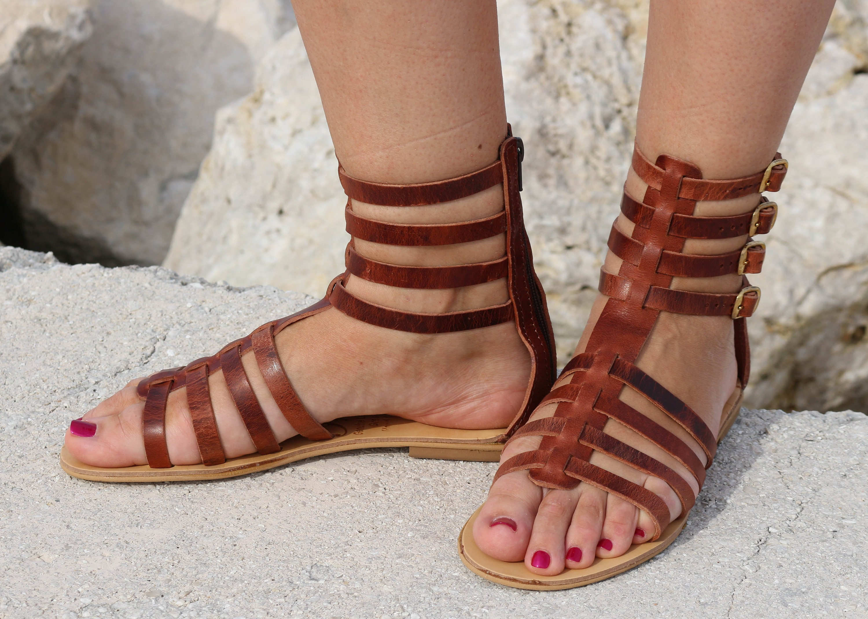 5fb345b27ae2 Leather waxed brown gladiator sandals brown waxed sandals etsy jpg  3000x2139 Brown gladiator sandals