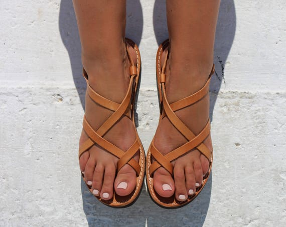 """<Span Data Inner Title="""""""">Sandals, Natural Leather Sandals, Ankle Strap Sandals, Greek Sandals, Women Shoes, Women Sandals, Flat Sandals</Span> by Etsy"""