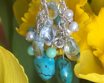Turquoise, Aquamarine, pearl and silver earrings