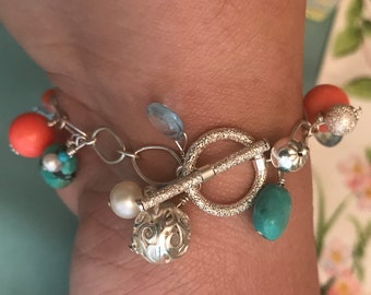 The Kathleen - Beach Chic Sterling Silver Bracelet with Coral, Pearls, Aquamarine and Turquoise