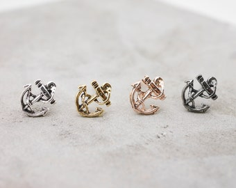 57cdbb335 Sterling Silver Anchor Earrings Tiny Studs, Tiny Nautical Earrings, Small  Beach Earrings Sea Earrings, Anchor Jewelry, Gold Nautical Anchor
