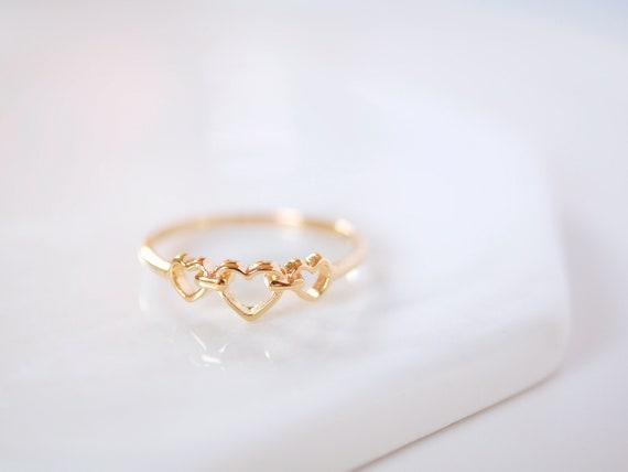 Triple Heart Ring Heart Ring Heart Rings Love Ring Gold Etsy