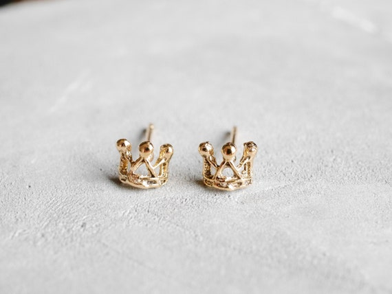 Sterling Silver Polished Crown Post Stud Earrings