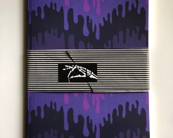 Ultra-Violet Slime Notebook, paper supplies, slimy, purple, notes, sketching, writing, matte finish, all over print,