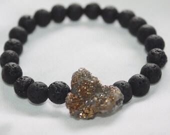 Lava Stone Pyrite Druzy Bracelet