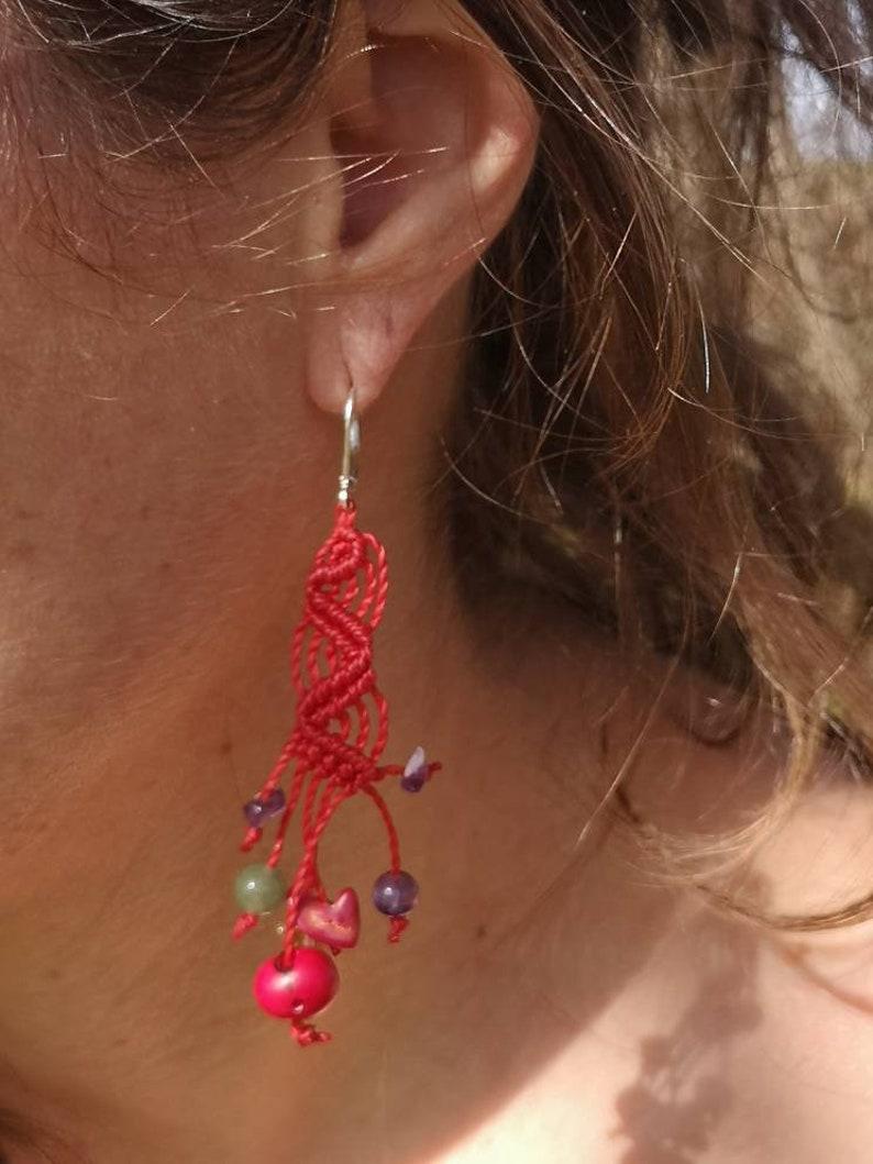 Red macram\u00e9 earrings for women
