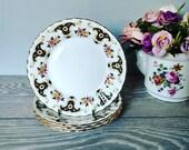Set Of 4 Retro English Bone China 6.5 Inches Black Floral Tea Plates Side Plates