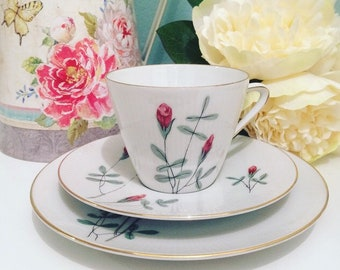 Pretty Vintage Rosebud Teacup Trio produced by Seltmann Weiden Bavaria Pattern Monika