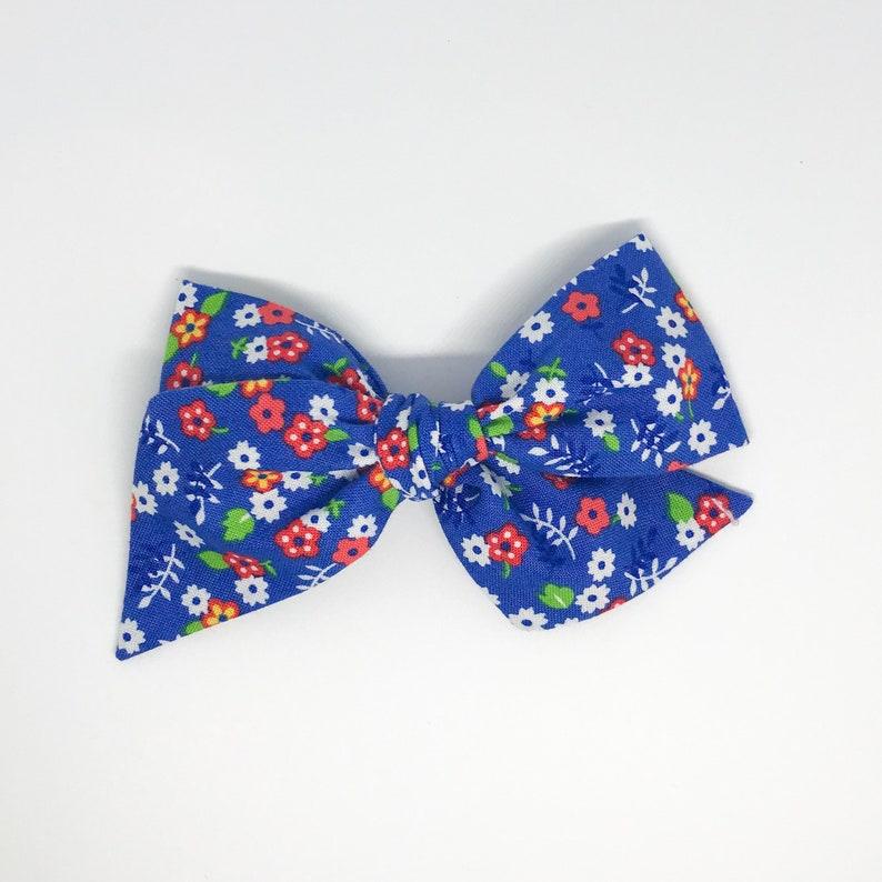 Red White Blue Floral Piggy Set Floral Hair Bow