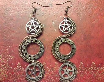 Beetle Wing Elytra Earrings Bronze Beads Pagan Goth Steampunk Lolita Victoriana