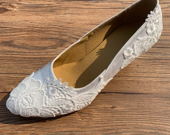 517cda22ec1d White Wedding Shoes Bridal Shoes Ballroom Dance Shoes with Lace Custom Made  W017