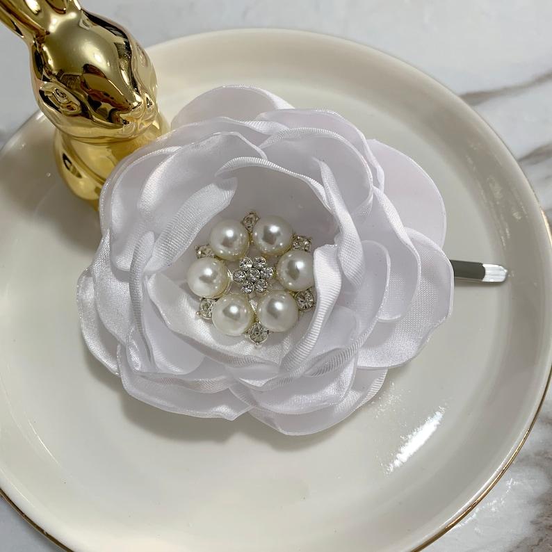 White Satin Flower Brooch Pin Lapel Pin Bobby Pin Hair Clip Hair Pin For Selection HR1